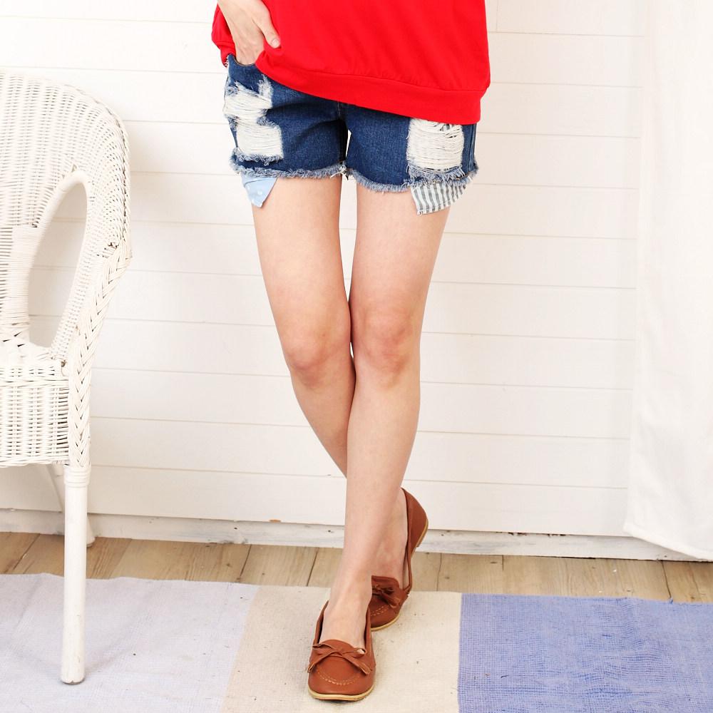 【Keep Chic孕婦裝】休閒個性抓破感托腹牛仔短褲