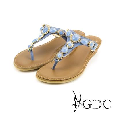 GDC-貴氣時尚寶石水鑽真皮T字楔型拖鞋-藍色