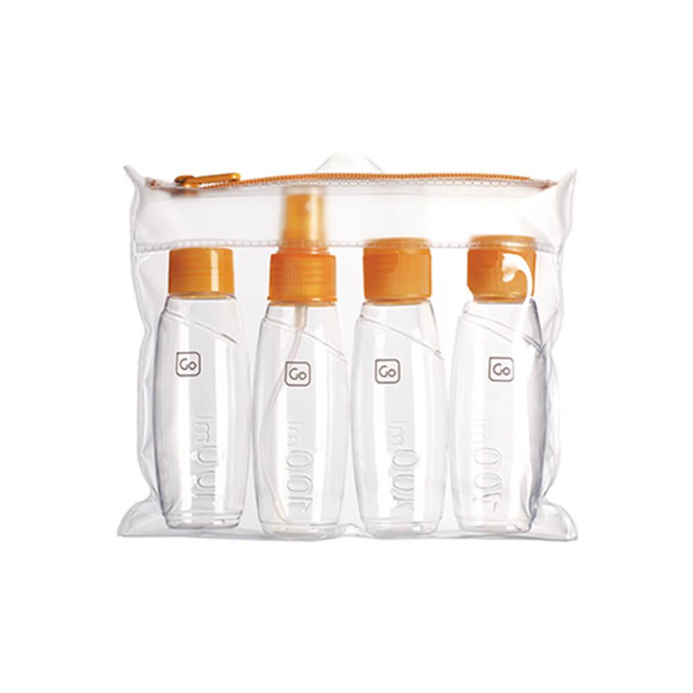 Go Travel  登機專用分裝瓶四件組-橘色