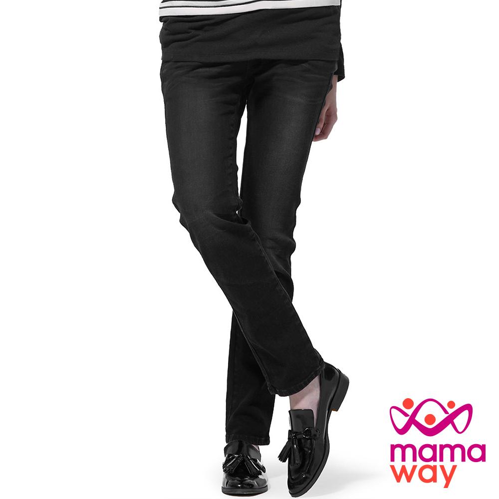孕婦褲 孕婦牛仔褲 長褲 孕期窄管牛仔褲 (共二色) Mamaway