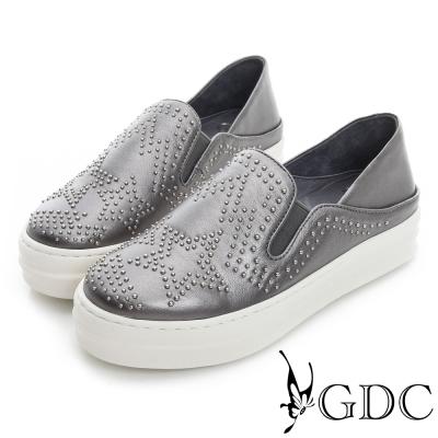 GDC舒適-星星鉚釘真皮厚底懶人休閒鞋-槍灰色
