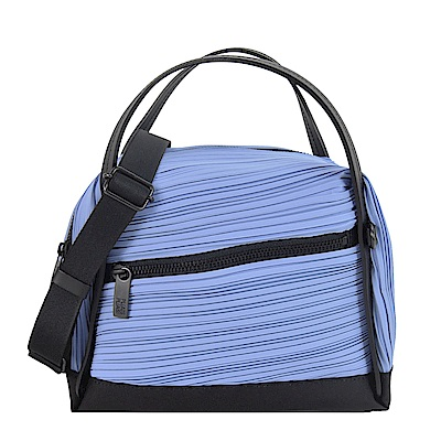 ISSEY MIYAKE 三宅一生PLEATS PLEASE梯形褶紋波士頓包(小/紫藍)