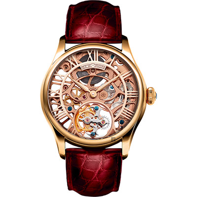 MEMORIGIN 萬希泉 女裝系列通花陀飛輪腕錶-玫瑰金x紅/35mm