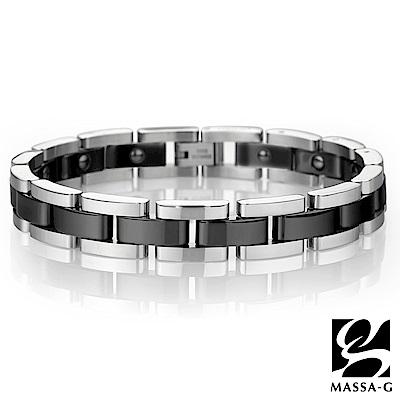DECO X MASSA-G【經典印記】黑色陶瓷白鋼手環