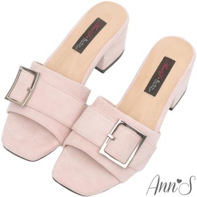 Ann'S時髦職人-方扣韓版粗跟涼拖鞋-粉