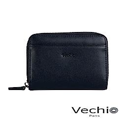 VECHIO-紳士商務款II-經典素面拉鍊高型零錢包-午夜藍