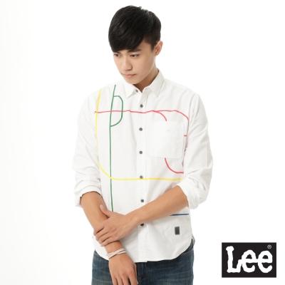 Lee 長袖白底彩色線條襯衫UR-男款