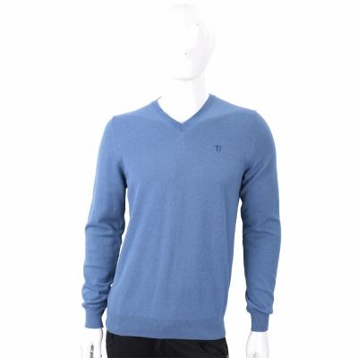 TRUSSARDI T字刺繡細節灰藍色針織羊毛衫