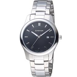 WENGER City 城市系列 經典簡約時尚腕錶-黑色/34mm