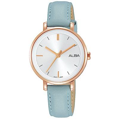 ALBA 雅柏 俏麗大三針皮帶女錶(AH8486X1)-玫瑰金x藍/30mm