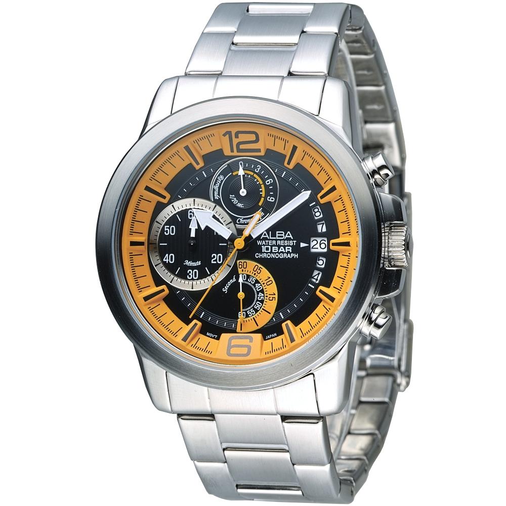 ALBA雅柏手錶 特種精英逆跳計時男錶-橘+黑(AS6039X1)/42mm 保固二年