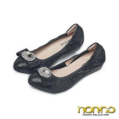 Nonno高雅珍珠氣質OL娃娃鞋-黑