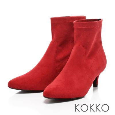 KOKKO-慵懶迷人尖頭顯瘦小貓跟襪靴-石榴紅