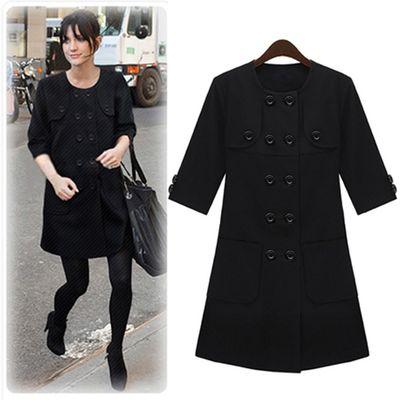 【Love20首爾館】現貨 淑女多鈕扣五分袖洋裝(黑)