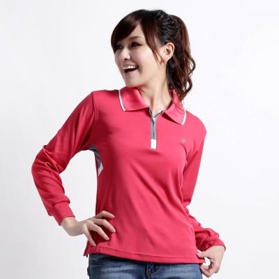 【遊遍天下】MIT台灣製女款運動休閒抗UV吸濕排汗機能POLO長衫L077蕾絲紅