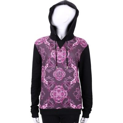 VERSACE 桃紫色拼接黑袖連帽長袖上衣