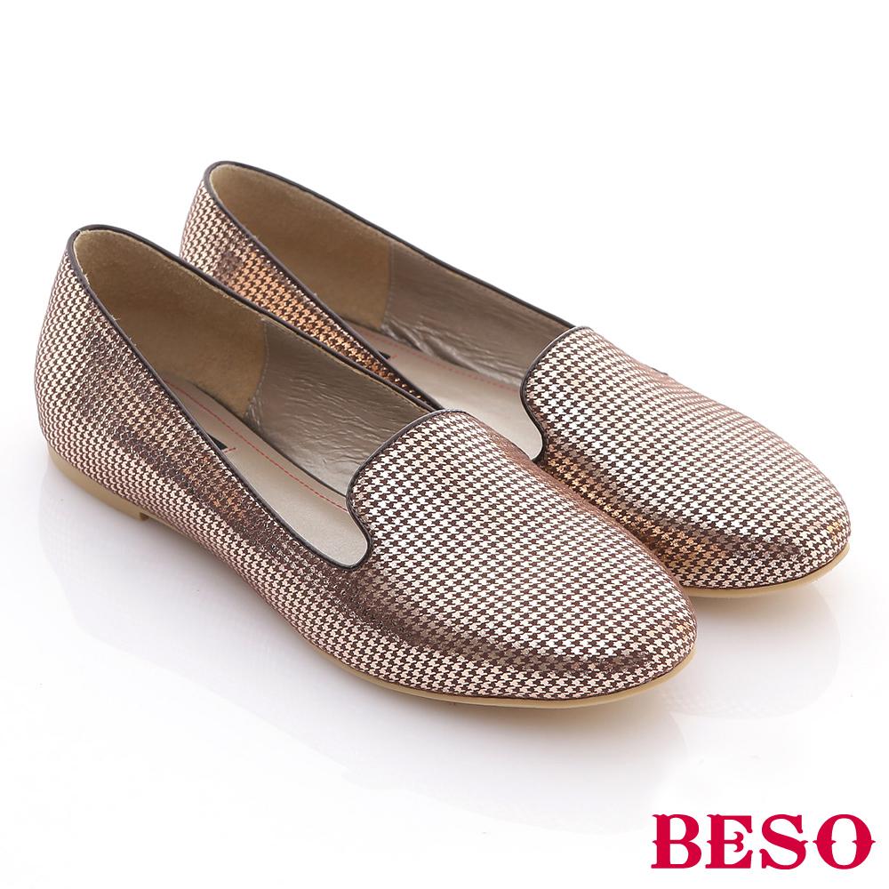 BESO 台灣手工 極簡亮面平底樂福鞋 銀