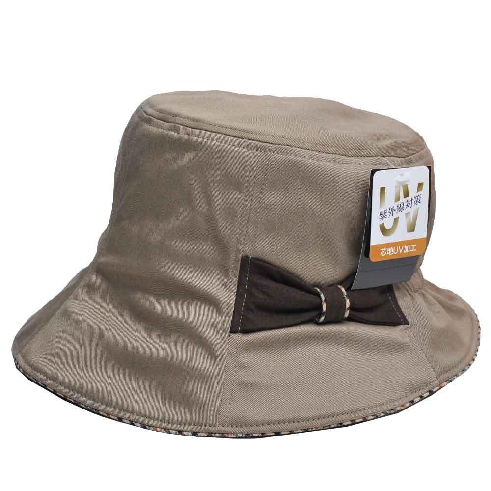 DAKS 抗UV科技纖維字母格紋滾邊蝴蝶結漁夫帽(卡其色)