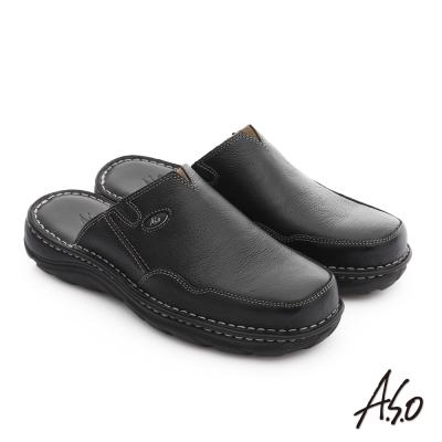 A.S.O 都會休閒 全真牛皮抗震雙核心張菲鞋 黑色