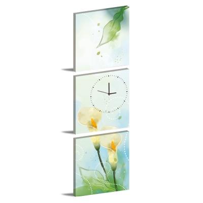 美學365-三聯客製化掛飾壁鐘時鐘畫框無框畫藝術掛畫-海芋-40x40cm
