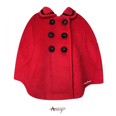 Annys貴族高質感羊毛金飾雙排釦披風*5675紅