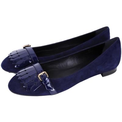 TOD'S BALLERINA 流蘇拼接麂皮平底鞋(深藍色)