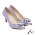 A.S.O 經典晚宴 閃亮絨面真皮水鑽蝴蝶結高跟鞋 淺紫