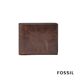 FOSSIL 短夾 DERRICK 真皮RFID 皮夾-深棕色