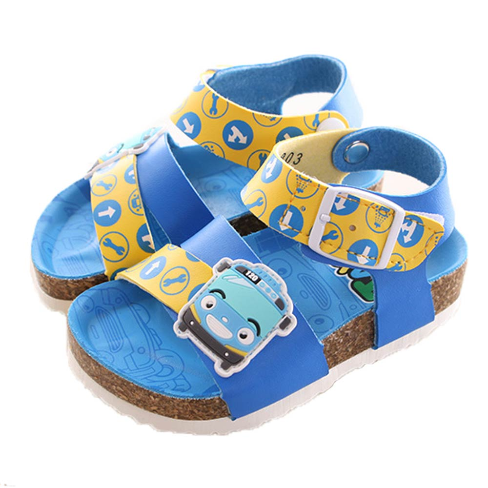 TAYO小巴士魔鬼貼休閒涼鞋 藍黃 sk0099魔法Baby