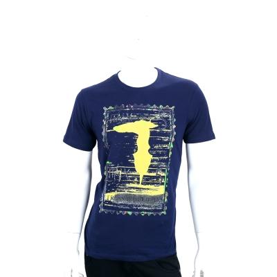 TRUSSARDI-JEANS 深藍色仿舊刷色郵票LOGO棉質短袖T恤