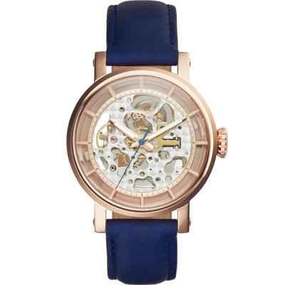 FOSSIL復古風尚鏤空機械腕錶-玫瑰金X藍/38mm