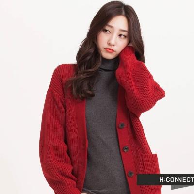 H-CONNECT-韓國品牌-女裝-半開襟純色針織