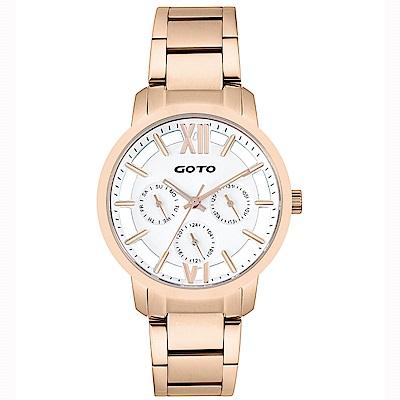 GOTO LINK系列裸空三眼精品時尚手錶-IP玫x白/37mm