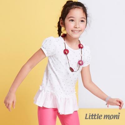 Little moni 夏日星星印圖拼接上衣 白色