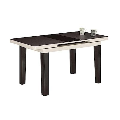 品家居 蕾娜3.7尺可伸縮玻璃餐桌(二色可選)-110.5x75x76cm免組