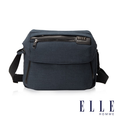 ELLE HOMME 精湛優雅紳士風範可置物IPAD單眼相機橫式機能側背包-深藍
