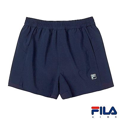 FILA KIDS 女童平織彈性短褲-丈青 5SHS-4323-NV