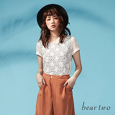 beartwo 精緻花漾布蕾絲條紋上衣(二色)