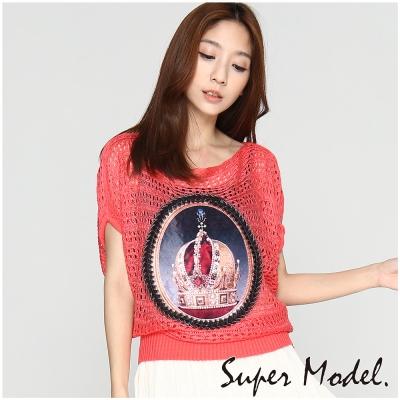 皇冠簍空平口針織衫-粉色(M-XL適穿) 名模衣櫃