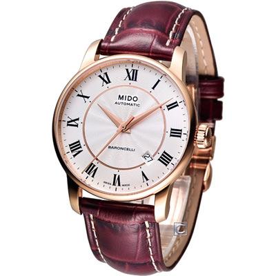MIDO Baroncelli II 羅馬假期機械腕錶-銀x玫瑰金框/38mm