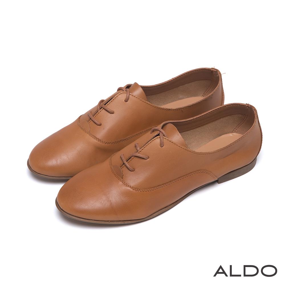 ALDO 英式學院風原色弧形車線綁帶牛津鞋~典雅焦糖