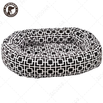 BOWSERS甜甜圈極適寵物床-極簡方格(灰)-XS