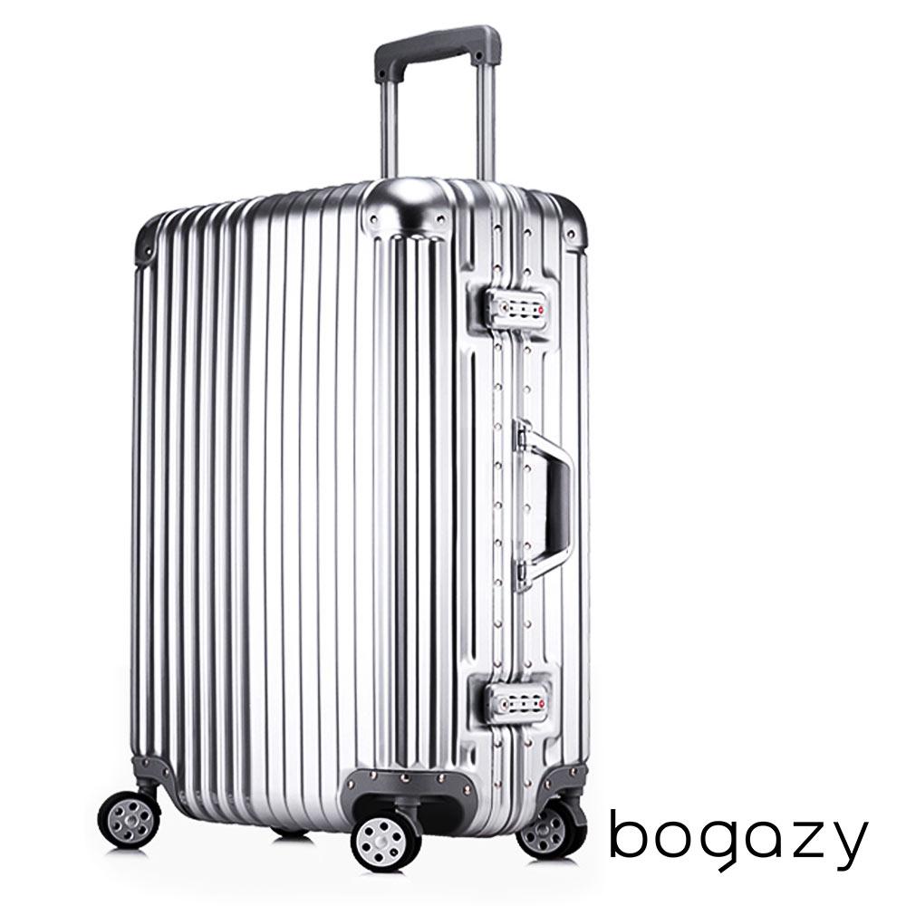 Bogazy 迷幻森林 24吋鋁框PC鏡面行李箱(紳士銀)