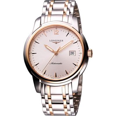LONGINES Saint-Imier 18K玫塊金機械腕錶-白x玫瑰金框/41mm