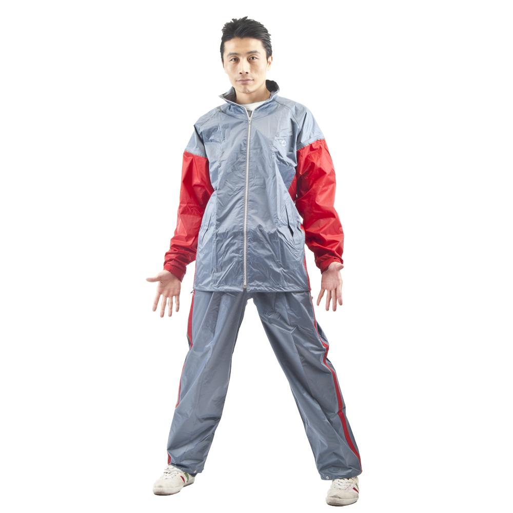 達新牌新帥型二件式雨衣(暗紅灰)