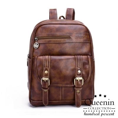 DF Queenin日韓 - 學院系簡約皮革款雙皮飾後背包-共2色