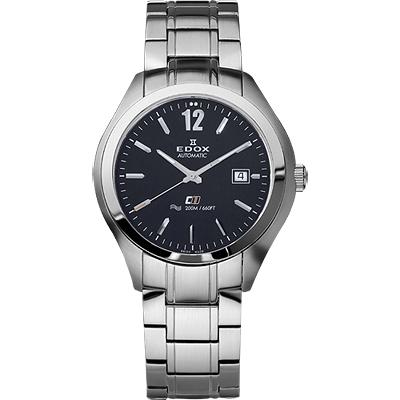 EDOX Class-1 紳士自動上鍊機械錶-黑x銀/42mm