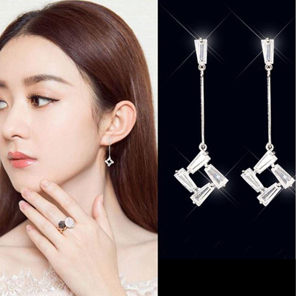 梨花HaNA 韓國925銀法式美妍氣質水晶直線垂墜耳環