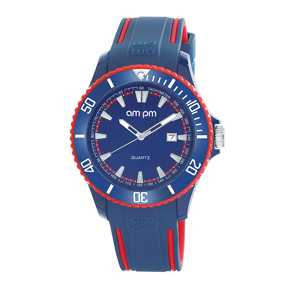 AM:PM瑞士精品手錶 CLUB系列 藍X紅錶框 深藍錶盤/深藍紅色錶帶45mm