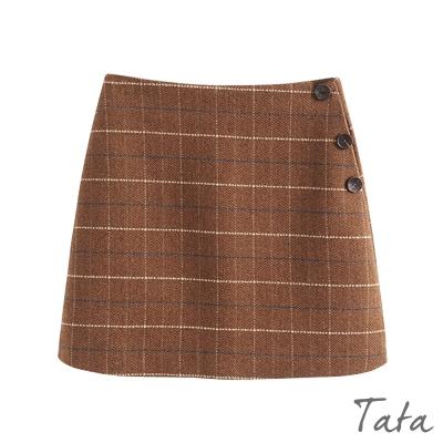 鈕扣裝飾格紋裙 共二色 TATA